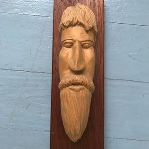 Hand carved wooden face wall hanging decor